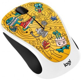 Mouse wireless Logitech M238 Doodle Collection , Fara Fir , Optic , 1000 DPI , Go Go Gold